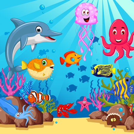 funny sea animals cartoon set Vectores