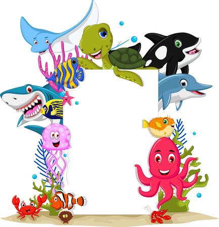 funny sea animals cartoon set with blank sign Vector