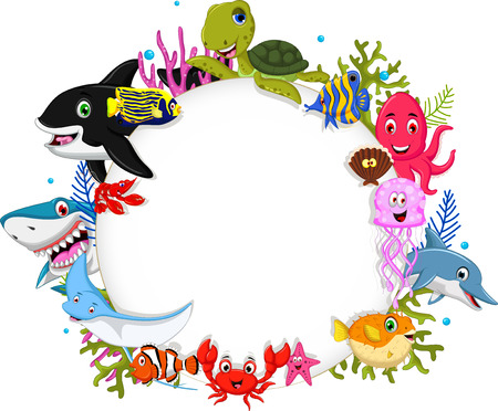 funny sea animals cartoon set with blank sign