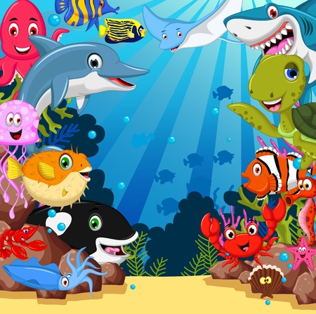 funny sea animals cartoon set  イラスト・ベクター素材
