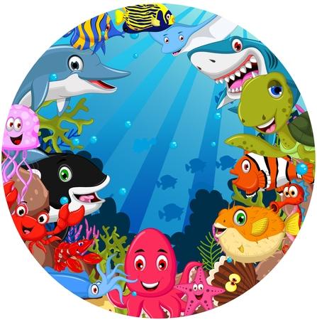 funny sea animals cartoon set Illustration