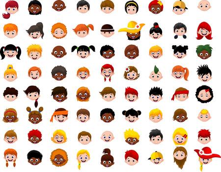 collage caras: gran Conjunto de cabeza de niños de dibujos animados