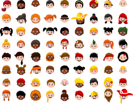 big Set of cartoon children head Illustration