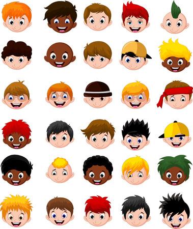 girl glasses: Set of cartoon childs head boys