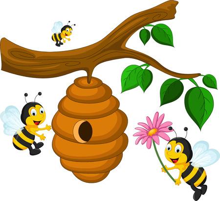 abeja caricatura: Abejas de dibujos animados explotación flor y una colmena