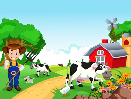 flower garden path: Farm background with farmer and animals