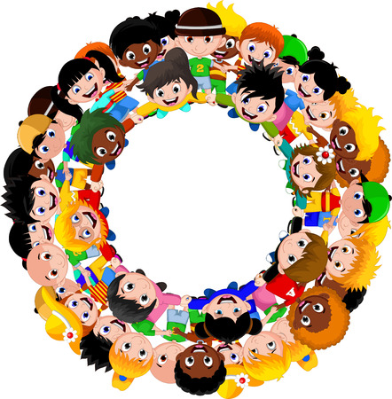 integrated groups: happy children different races