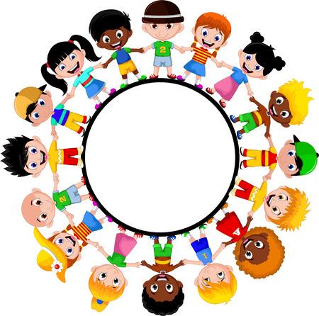 niños de diferentes razas: los niños felices de diferentes razas Vectores
