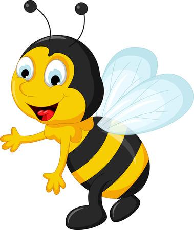 abeja reina: feliz vuelo de dibujos animados Bee