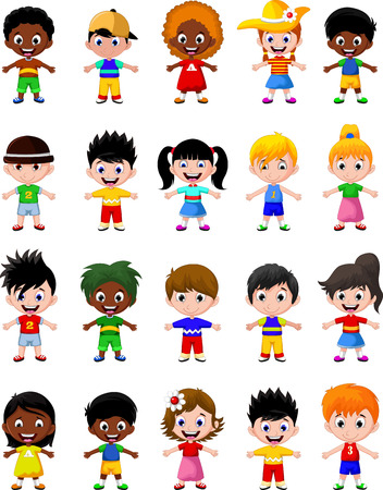ni�os de diferentes razas: los ni�os felices de diferentes razas Vectores