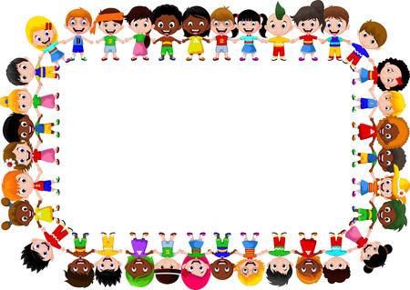 행복한 아이들이 다른 인종