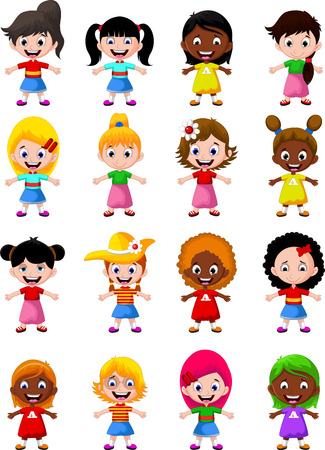 happy girl kids cartoon collection