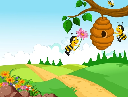 Bees cartoon holding flower and a beehive with forest background