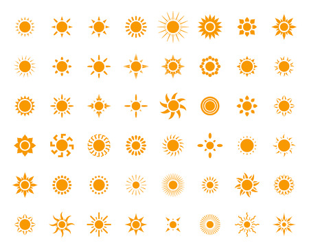 yellow orange: Set of sun images for your design