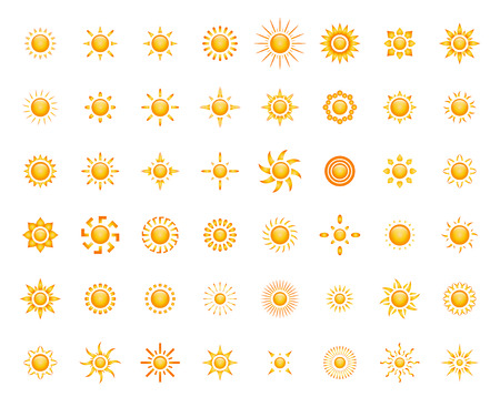 Set of glossy sun images for your design