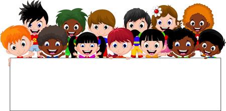personas saludando: Los ni�os de dibujos animados con un cartel