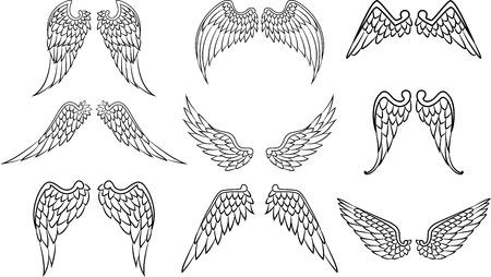 翼のタトゥーを設定  イラスト・ベクター素材
