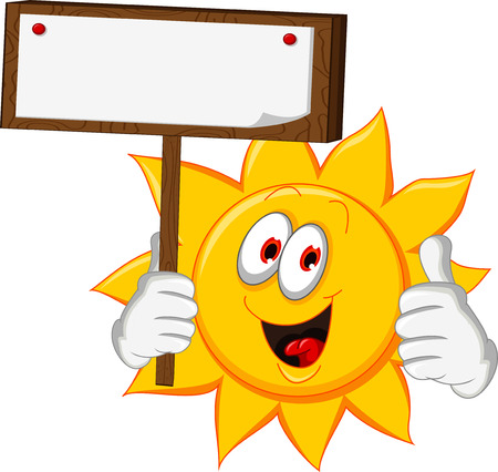 sun cartoon holding blank board