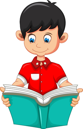reads: Young boy reading book cartoon Illustration