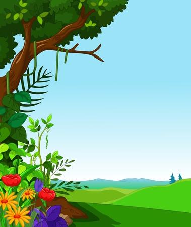 hillside: green forest for you design Illustration