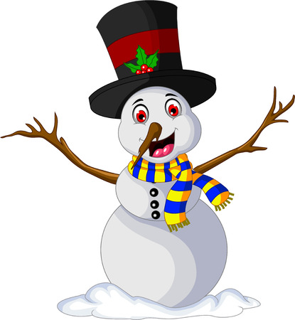 child laughing: Funny Xmas Snowman for you design Illustration