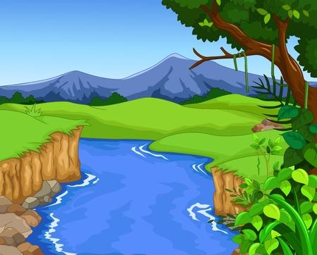 hillside: apple tree house cartoon Illustration