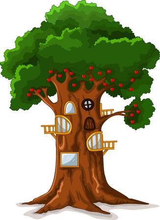 colourful sky: apple tree house cartoon Illustration