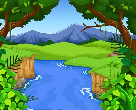 river vector: green forest with river for you design