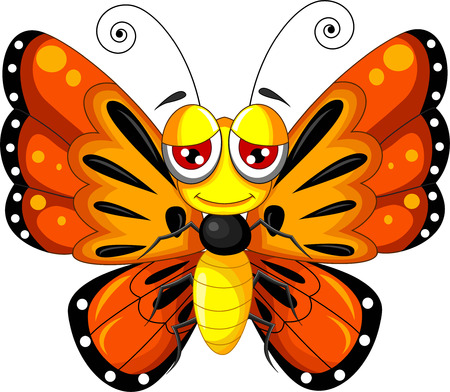 cartoon mariposa: historieta divertida mariposa Vectores