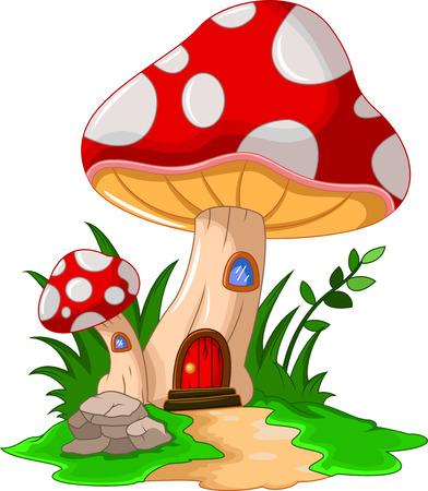 Cartoon mushroom house for you design Illustration