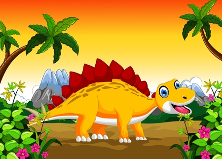 diplodocus: Dinosaur cartoon with landscape background for your design