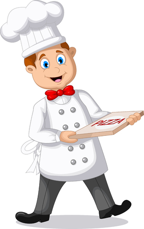 italian chef: Italian chef cartoon with italian original pizza