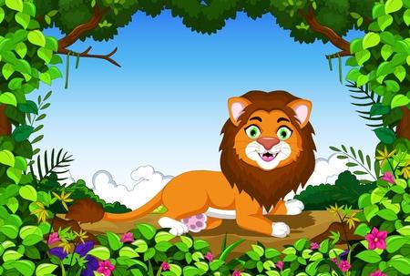 childish: lion cartoon sitting in the jungle Illustration