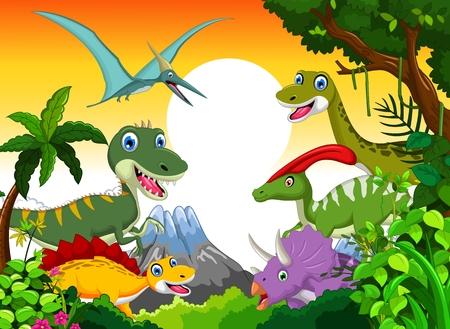 Dinosaurus cartoon met landschap achtergrond voor uw ontwerp Stock Illustratie