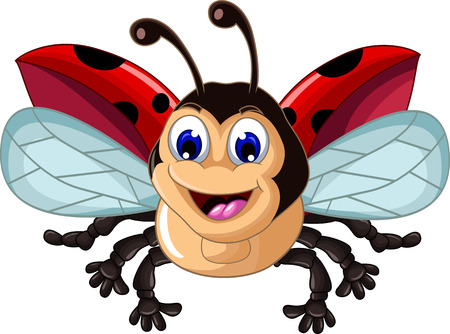 disign: Funny little ladybug in cartoon style for you disign