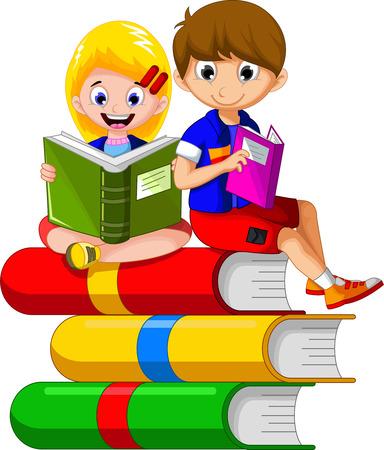 kind lezen boek zittend op Stapel Boeken Andere cartoon voor u disign Stock Illustratie