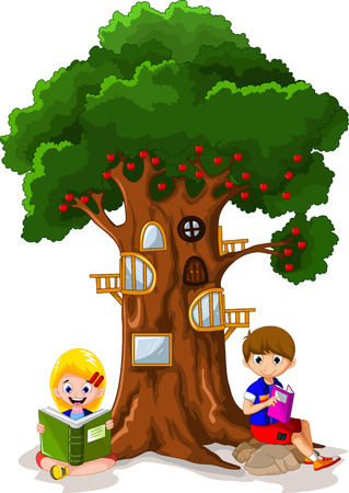 book vector: Child reading the book Under the tree Illustration