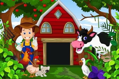 granja: agricultor en su finca con un grupo de animales de granja