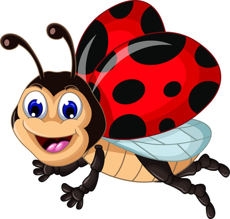 funny ladybugs flying cartoon for your design