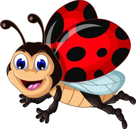 grappige lieveheersbeestjes vliegen cartoon voor uw ontwerp