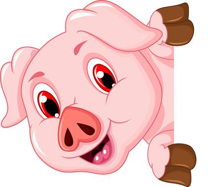 funny pig cartoon holding blank sign Çizim