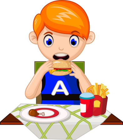snack: Illustration of a young boy eating in a fastfood restaurant Illustration