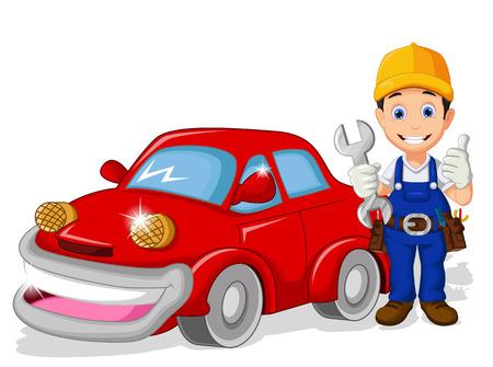 monteur cartoon met de auto voor u ontwerp Stock Illustratie