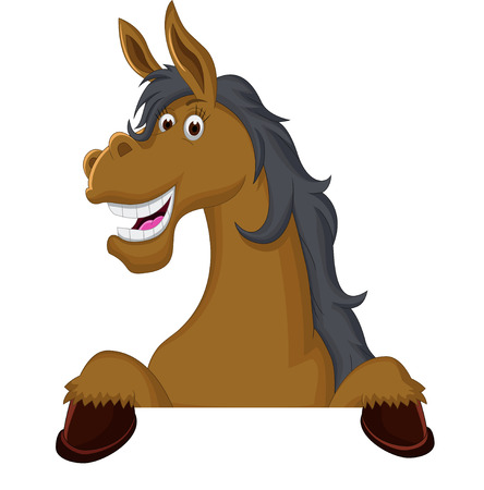 funny horse cartoon with blank sign Vettoriali
