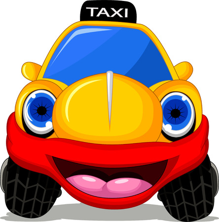 fare: Cartoon taxi car with red smile for transportation design Illustration