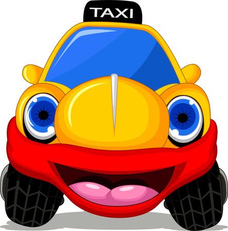 cartoon transportation: Cartoon taxi car with red smile for transportation design Illustration