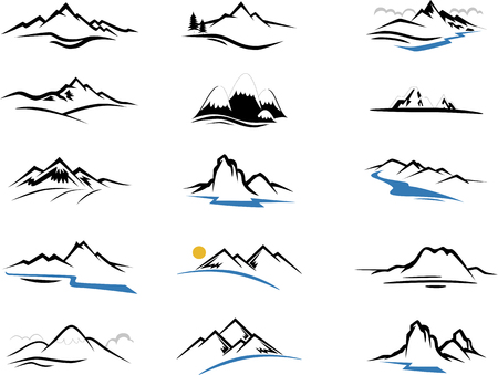 Mountains Icons cartoon for you design Çizim