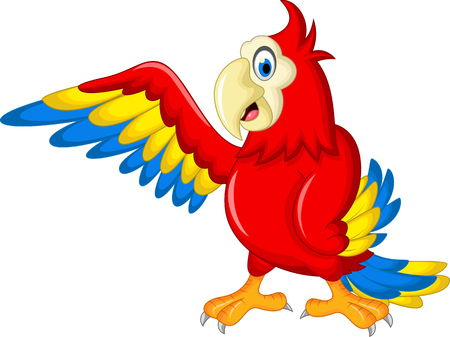 macaw: Macaw wing bird with blank sign Illustration