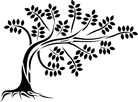 boom silhouet fo u ontwerp Stock Illustratie
