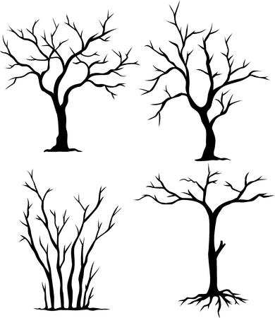 arboles secos: cuatro silueta de árbol para que el diseño Vectores
